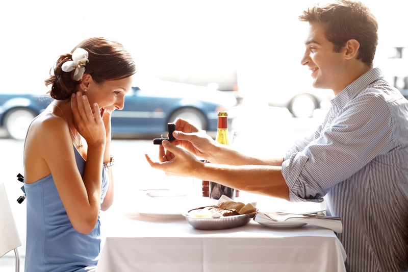 Happy young man gifting a ring to a beautiful woman