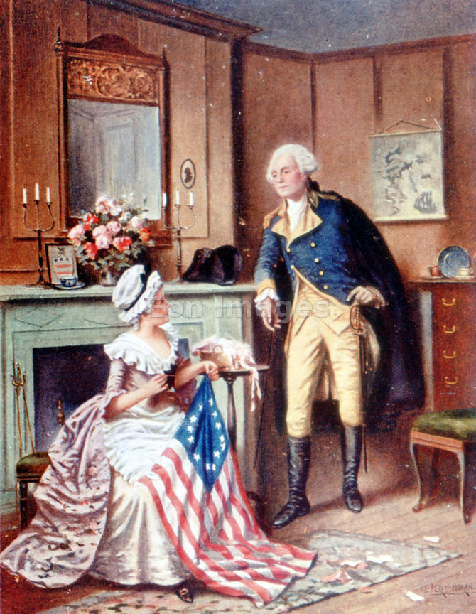Betsy Ross sews American flag